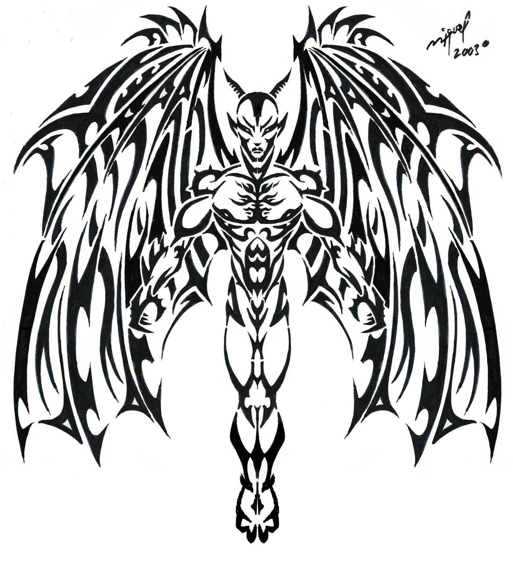 Tribal-Tattoos Black-Tribal-Demon-Tattoo-Stencil-By-Mig-Fernandez