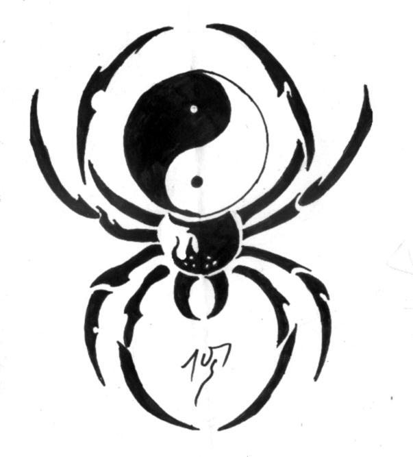 Black Yin Yang Spider Tattoo Stencil By Ivan G Hetem