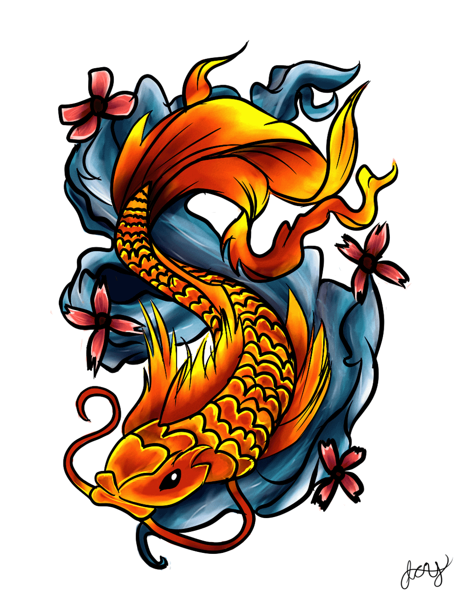 Colorful koi fish with flowers tattoo design by rrela for Colourful koi fish