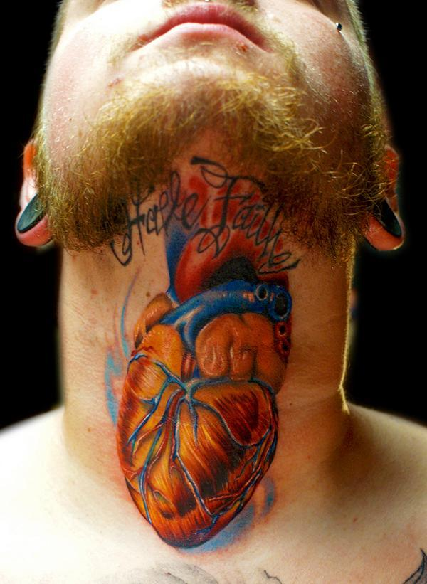 Colorful Real Heart With Have Faith Tattoo On Man Neck
