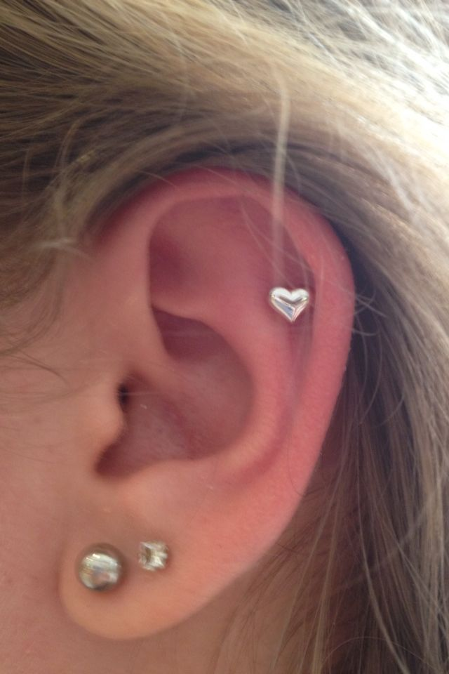 Right Ear Cartilage And Heart Piercing Ear Piercings Cartilage