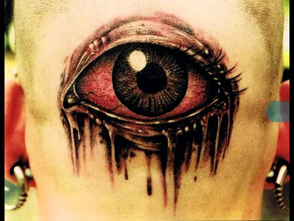 red and black scary eye tattoo design. Black Bedroom Furniture Sets. Home Design Ideas