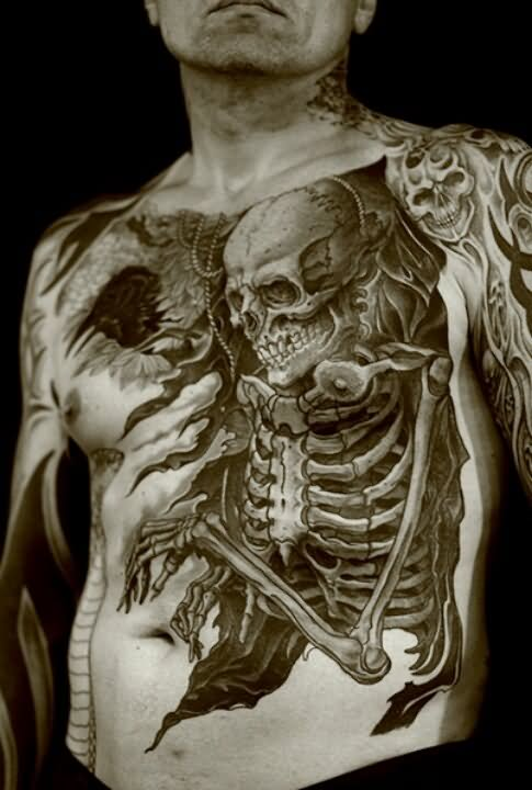 Ripped Skin 3d Human Skeleton Tattoo On Man Full Body By Mateusz