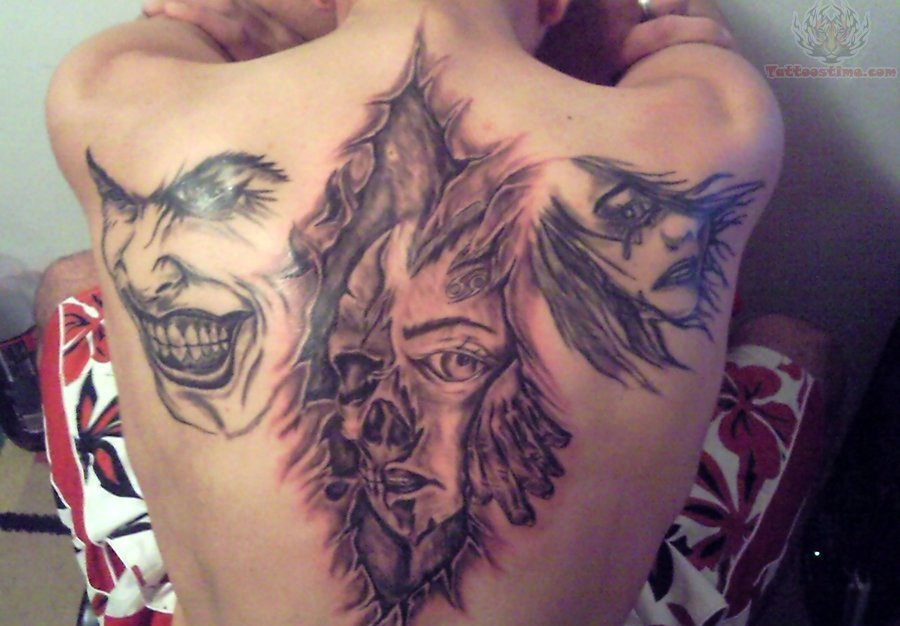 29 unique ripped skin tattoo art images gallery for Torn skin skull tattoo