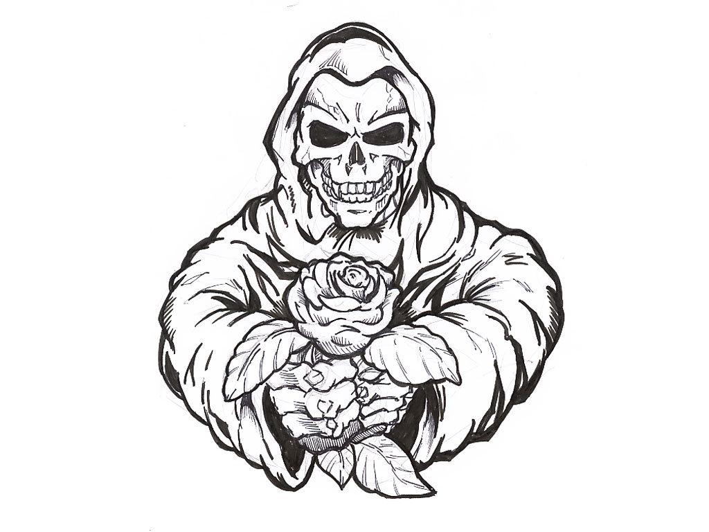 Rose In Skeleton Hand Tattoo Design