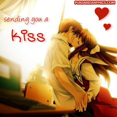 Sending You A Kiss Anime Couple Happy Kiss Day Wishes Picture