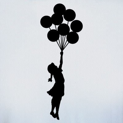 Silhouette Banksy Girl With Balloons Tattoo Stencil