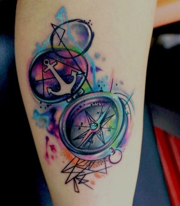 Watercolor Anchor In Compass Tattoo Design