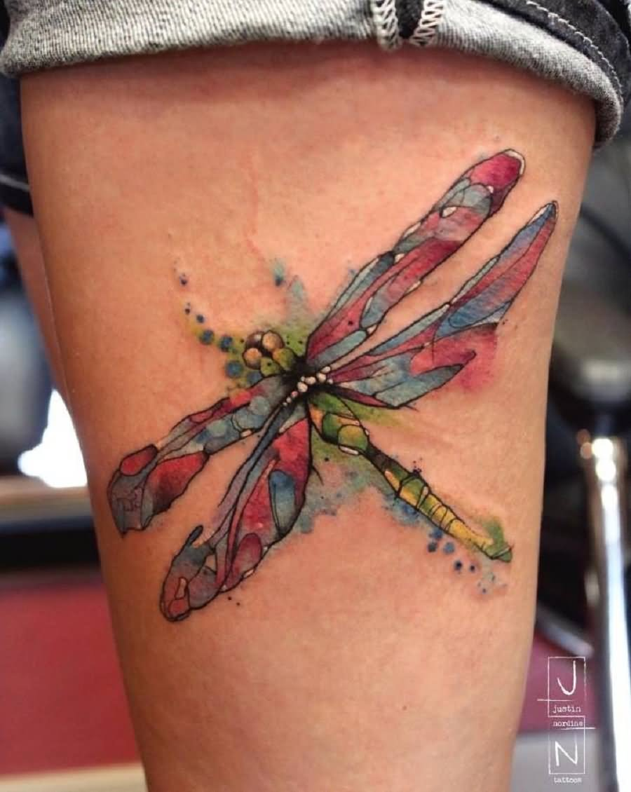 Watercolor Dragonfly Tattoo On Thigh