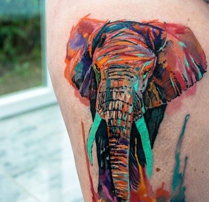 Watercolor Elephant Tattoo Design