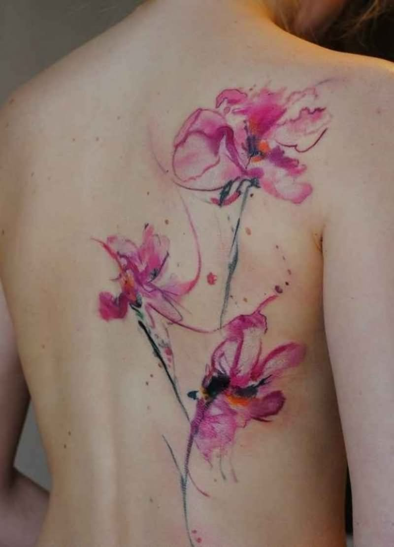 Watercolor Flowers Tattoo On Full Back