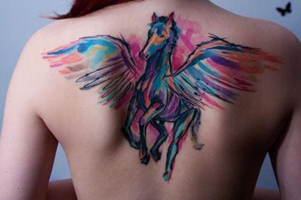 Watercolor Horse With Flying Wings Tattoo On Girl Upper Back