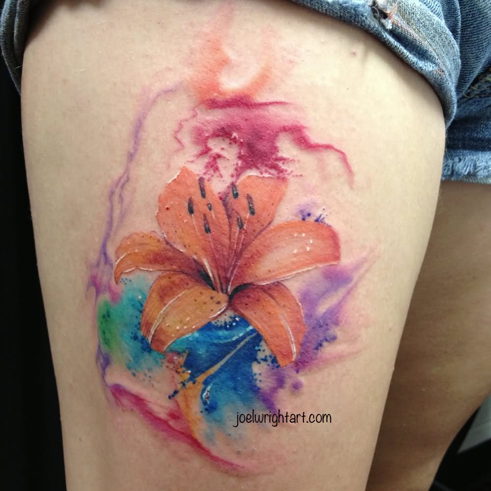 Watercolor Lily Tattoo On Girl Thigh