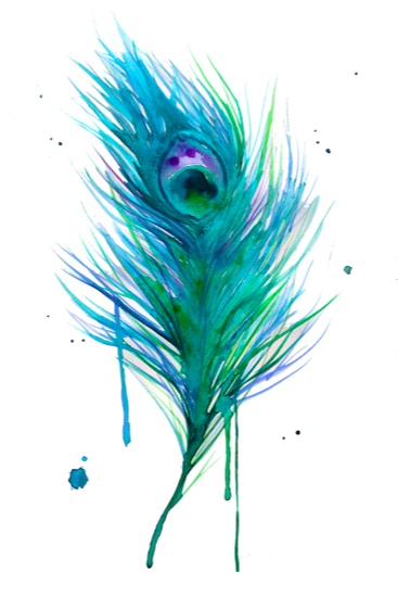 Watercolor Peacock Feather Tattoo Design