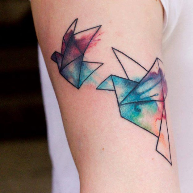 Watercolor Two Abstract Flying Birds Tattoo Design