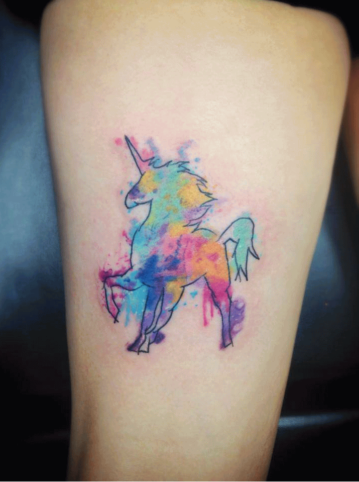 Watercolor Unicorn Tattoo On Thigh