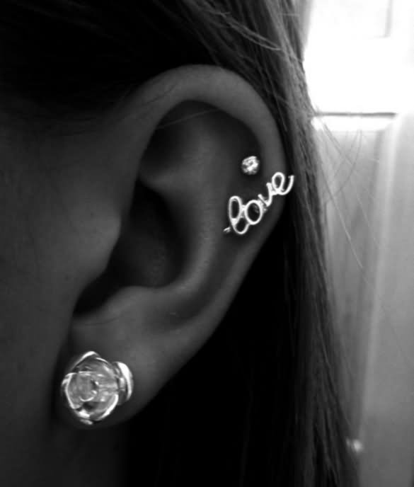 white rose stud lobe and cartilage tattoo with love stud. Black Bedroom Furniture Sets. Home Design Ideas
