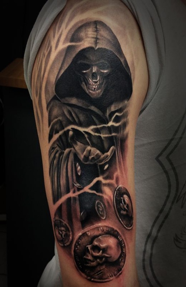 0ca5275838f87 Black And Grey 3D Grim Reaper Tattoo On Right Half Sleeve