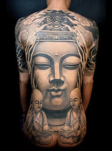 Black And Grey Buddha Face Statue Tattoo On Man Full Back