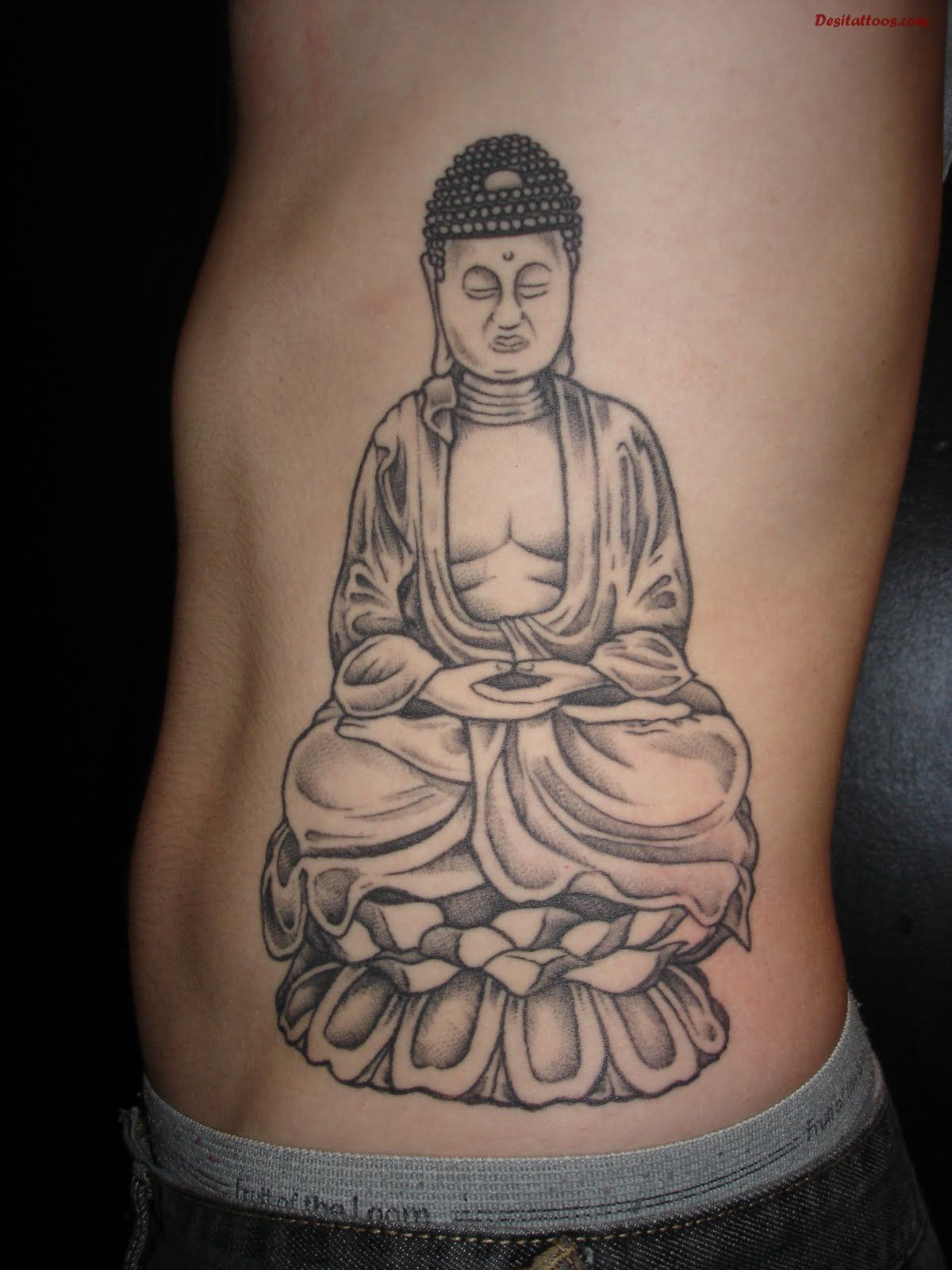 Buddha Sitting In Lotus Flower Tattoo By Dragon Fx