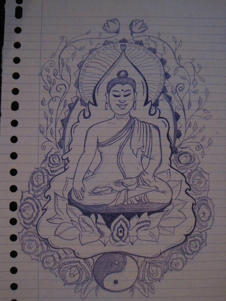 Black And Grey Buddha With Yin Yang Tattoo Stencil By Jor D Brink
