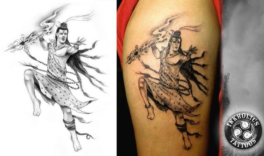 Black And Grey Lord Shiv Hinduism Tattoo Design For Sleeve