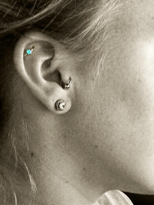 Girl Right Ear Beautiful Orbital Piercing