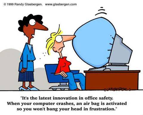 Its The Latest Innovation In Office Safety Funny Computer Cartoon