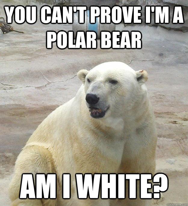 You Cant Prove I Am A Polar Bear Funny Meme