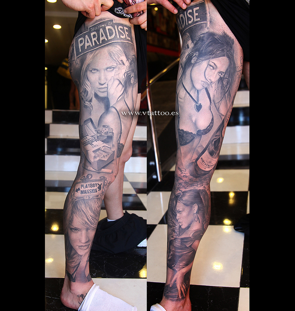 Black And Grey 3d Girls Face Tattoo On Full Leg By Miguelbohigues
