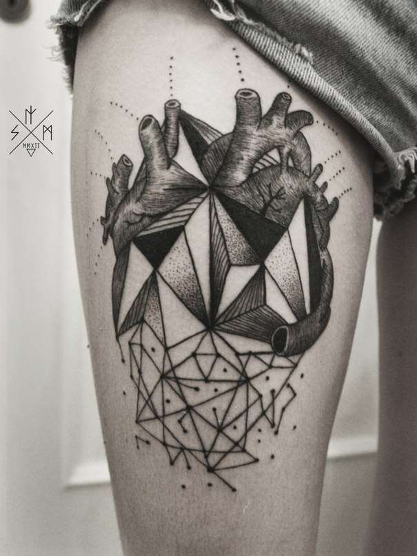 black and grey geometric real heart tattoo stencil by savas dogan. Black Bedroom Furniture Sets. Home Design Ideas