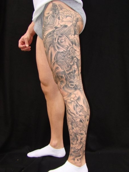 Black And Grey Horse Head With Flowers Tattoo On Full Leg
