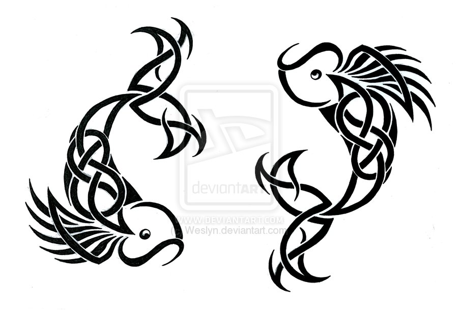 Black Celtic Pisces Zodiac Sign Tattoo Stencil By Weslyn
