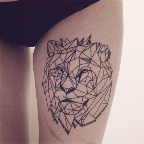 Black Geometric Lion Head Tattoo On Girl Thigh By Zszywka Line women decoration design elements set vector. black geometric lion head tattoo on