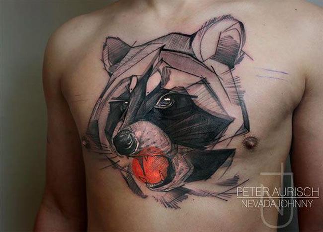 Geometric Owl Chest Tattoo
