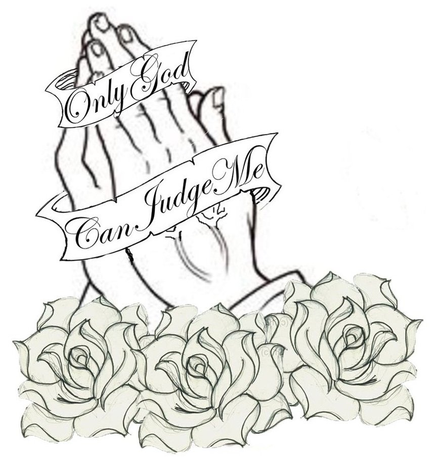 black praying hands with banner and roses tattoo design. Black Bedroom Furniture Sets. Home Design Ideas