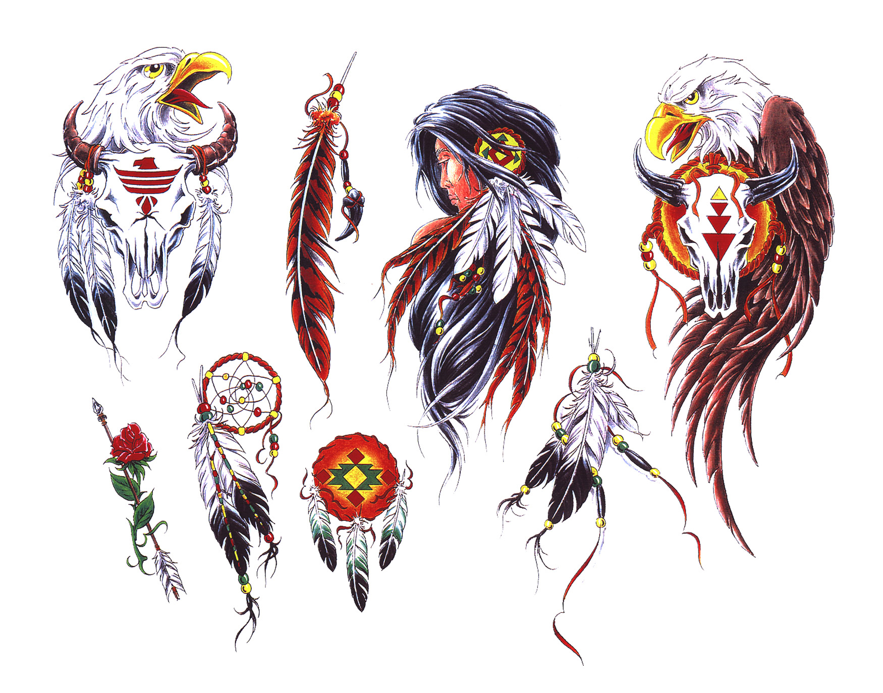 17 indian tattoo designs samples and inspirational ideas colorful indian native feather tattoo flash buycottarizona