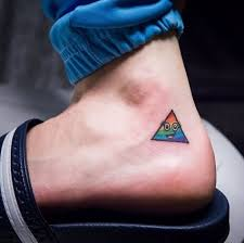 Colorful Little Prism Tattoo On Heel