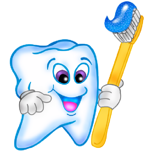 Funny Cartoon Teeth With Brush Clipart