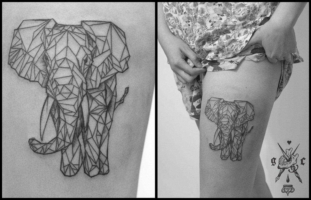 Gallery For gt Geometric Elephant Tattoo