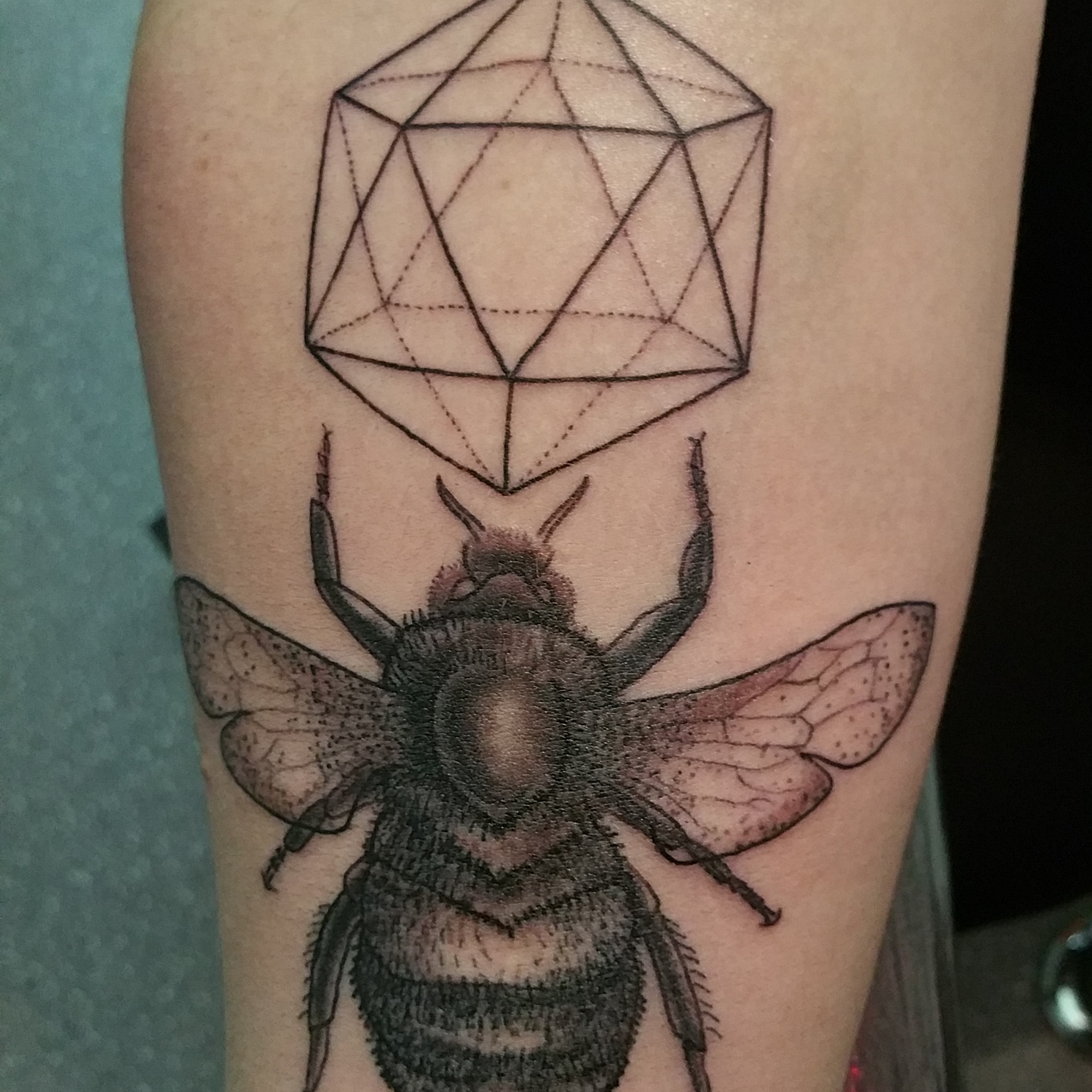 a742d8b97 Grey Ink Bee With Prism Tattoo Design For Forearm
