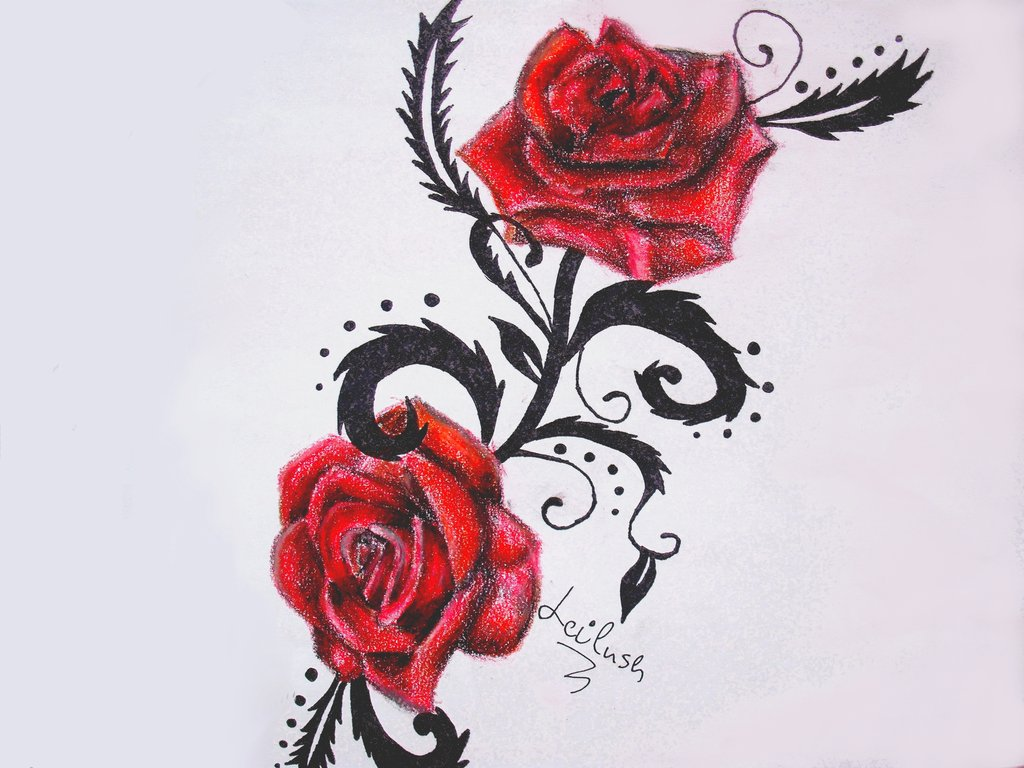 Two Red Roses With Black Leaves Tattoo Design