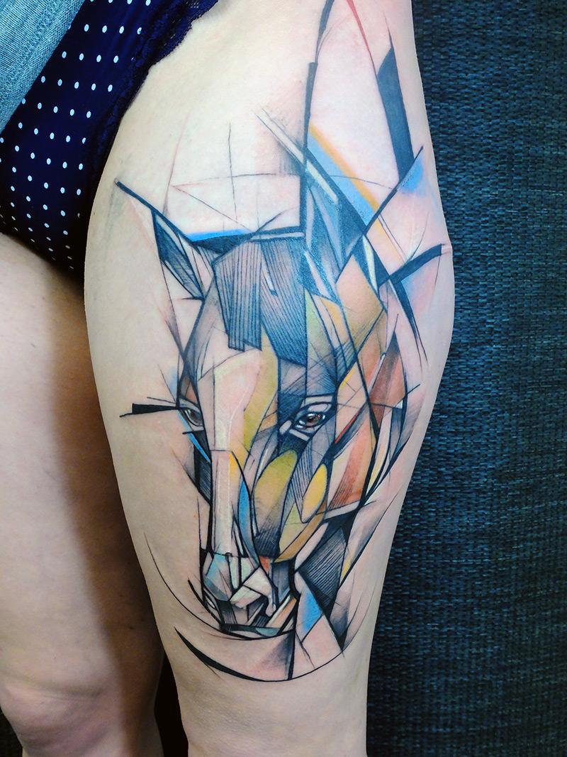 Watercolor Geometric Horse Head Tattoo On Thigh