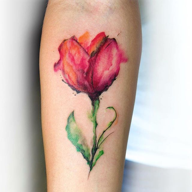 watercolor tulip flower tattoo design for forearm. Black Bedroom Furniture Sets. Home Design Ideas