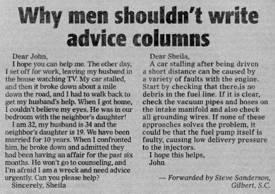 Why Men Shouldn't Write Advice Columns Funny Newspaper