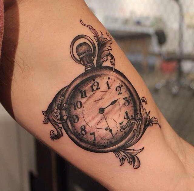18 best pocket watch tattoos for Pocket watch tattoo