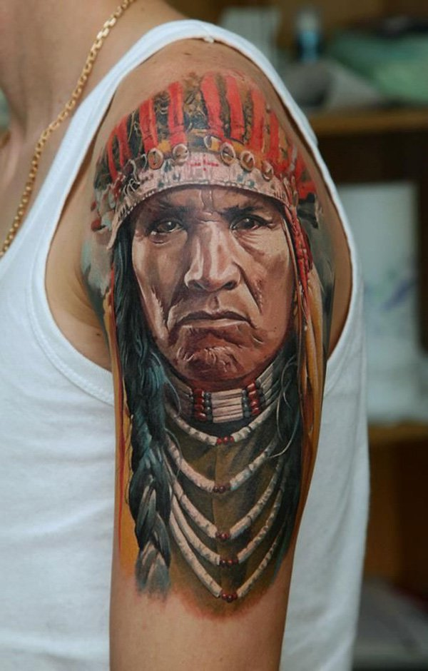 native american girl face with owl tattoo on thigh. Black Bedroom Furniture Sets. Home Design Ideas
