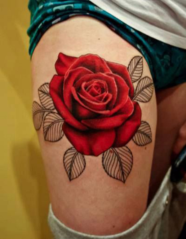Amazing 3d Red Rose Tattoo On Thigh