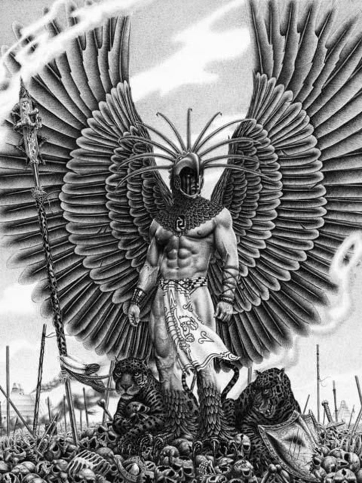 Amazing Black And Grey Warrior With Wings Tattoo Design