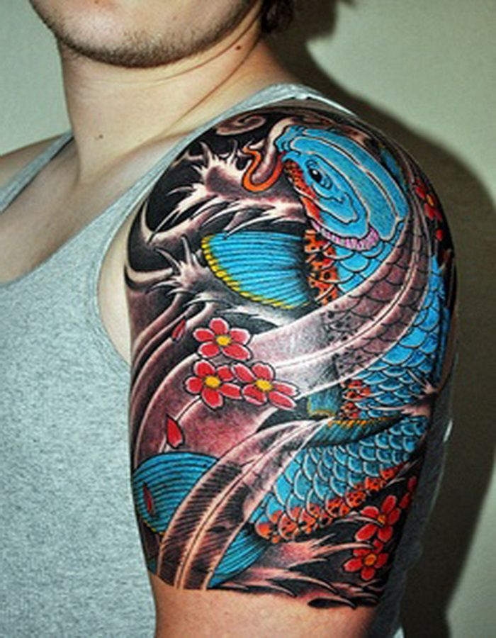 Black And Grey Koi Fish Tattoo On Back Shoulder
